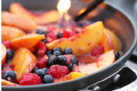 Peach and Berries Flambe