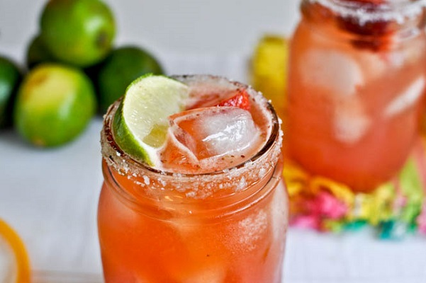 Fresh Strawberry Margaritas from How Sweet It Is