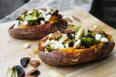 Stuffed Sweet Potatoes with Brussels Sprouts, Cheese, and Pecans