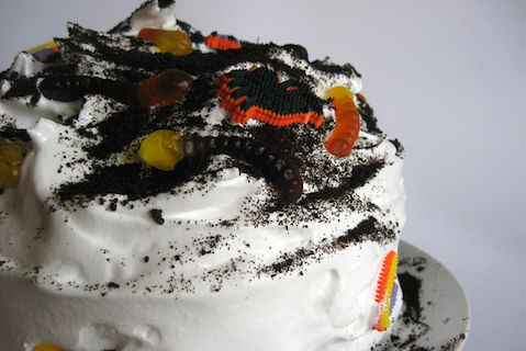 Devil's Food Dirt and Worms Cake