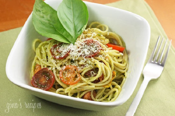 Spaghetti with Garlic Scape Pesto with Tomatoes from Skinnytaste