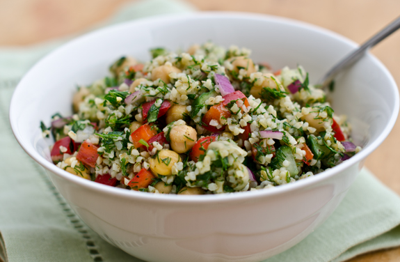 Bulgur Salad with Cucumbers, Red Peppers, Chick Peas, Lemon and Dill from Once Upon a Chef