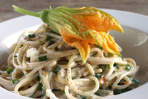 Spaghetti with Squash Blossoms
