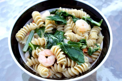 Swiss Chard and Shrimp Pasta