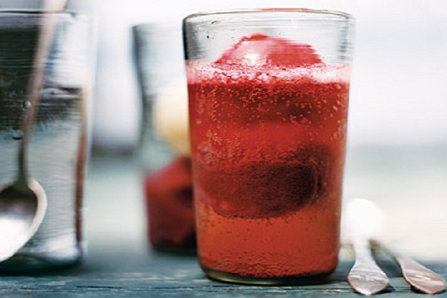 Raspberry and Lemon Sorbet Floats from Martha Stewart