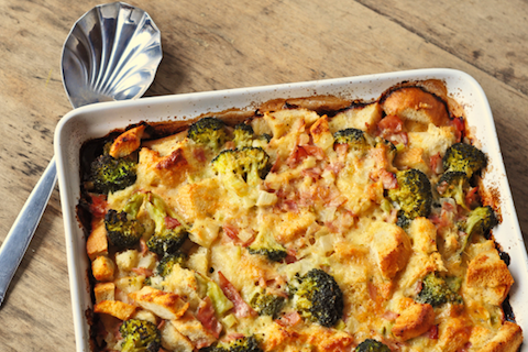 Breakfast Casserole with Broccoli, Ham and Cheese