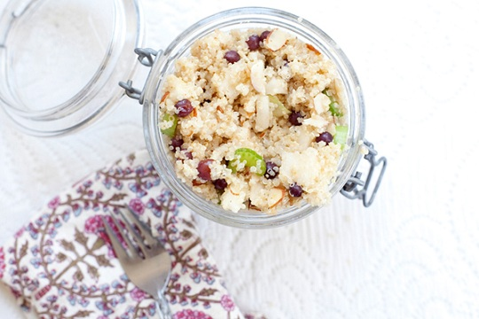 Quinoa Salad with Champagne Grapes, Celery, Almonds, and Apple Pears