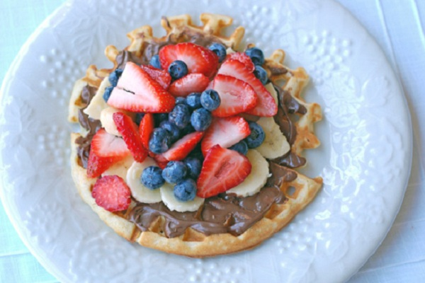 Nutella and Fruit Topped Waffles from Eat at Home