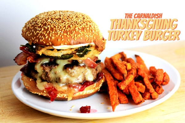 Thanksgiving Turkey Burger with Onion Straws and a Side of Sweet Potato Fries from Carnal Dish