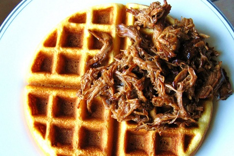 Root Beer BBQ Pulled Pork and Cornbread Waffles