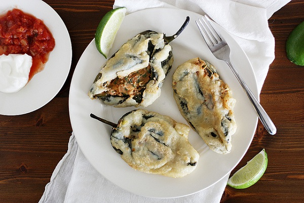 Beer-Battered Bean and Cheese Stuffed Poblano Chiles from Girl Versus Dough