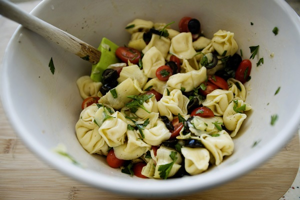 Tortellini Salad with Artichokes, Tomatoes, and Olives from Baked Bree