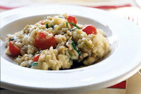 Risotto with Fresh Mozzarella, Grape Tomatoes, and Basil from MyRecipes Photo by Becky Luigart-Stayner