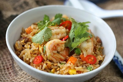 Laksa Fried Rice with Shrimp