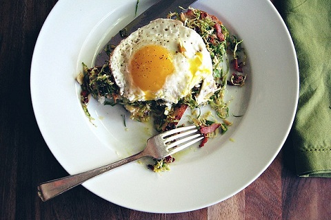 Eggs with Shaved Brussels Sprout Salad