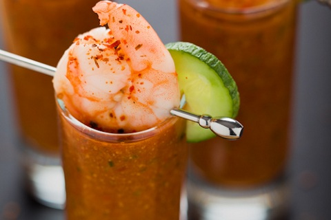 Chilled Tomato Cucumber Gazpacho Shooters