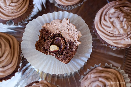 Ferrero Rocher Stuffed Chocolate Cupcakes with Nutella Buttercream from From Away