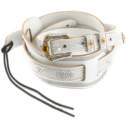 GRETSCH TOOLED WHITE STRAP