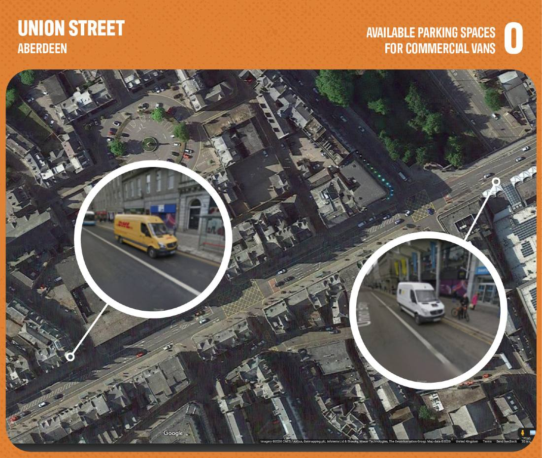 Graphic showing lack of commercial parking in Aberdeen