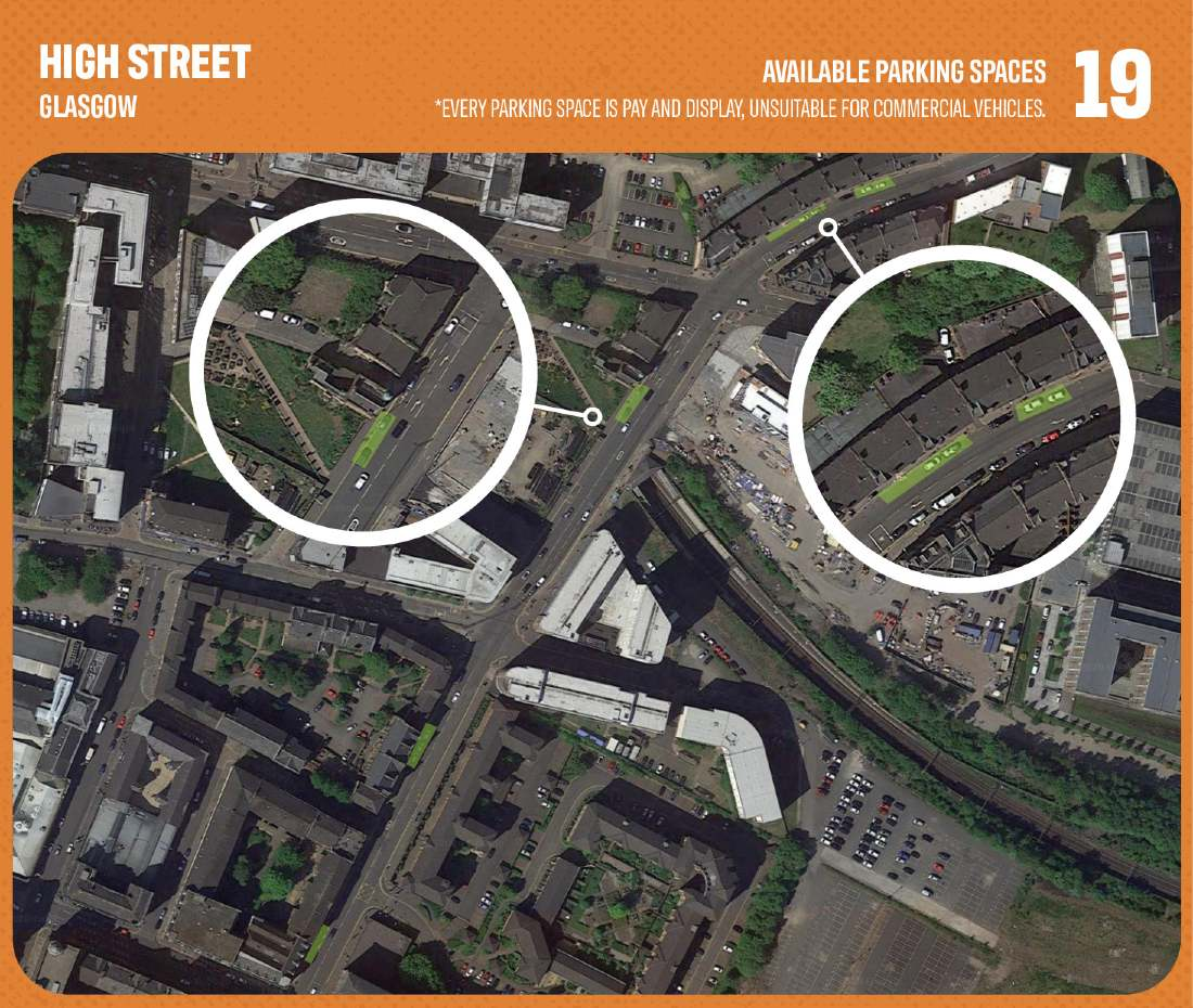 Graphic showing lack of commercial parking in Glasgow