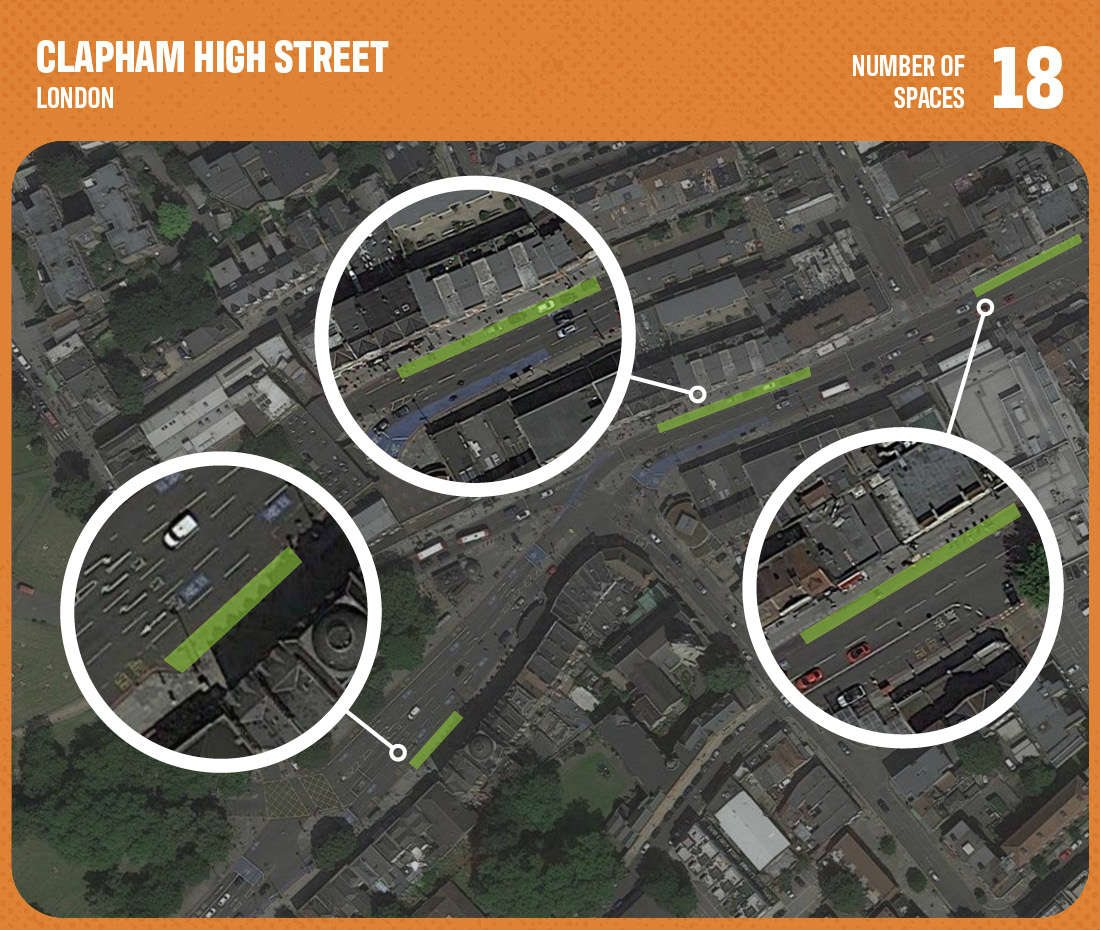 graphic showing commercial parking space in clapham high street