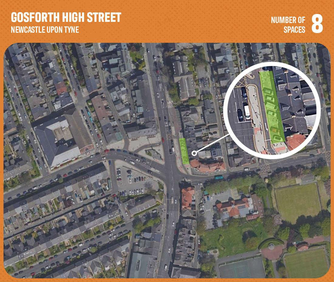 graphic showing commercial parking space in gosforth high street