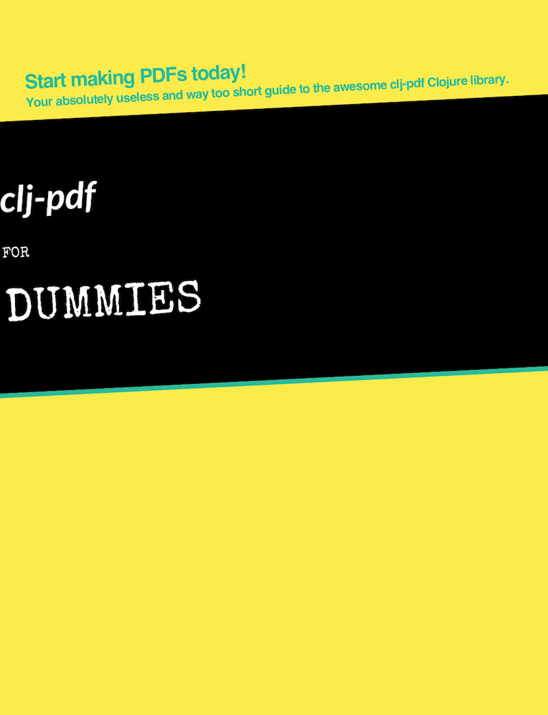 clj-pdf for Dummies - unfinished cover screenshot