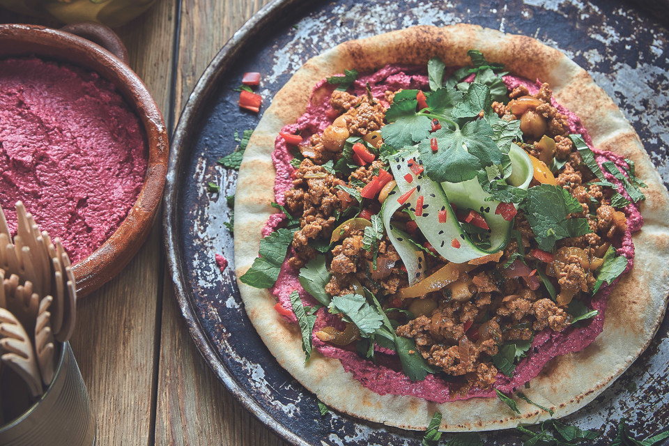 Lebanese Quorn Flatbread with Beet Hummus