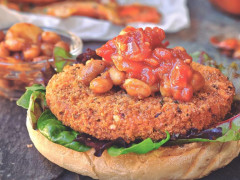 Vegan Spicy Patty with BBQ Beans