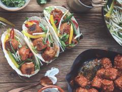Gochujang Quorn Balls, Kimchi Rice & Stir Fried Veg