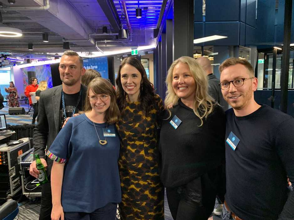 GoCardless' Partnerships team with NZ Prime Minister, Jacinda Ardern, at the opening of Xero's Te Ara Turoa office.