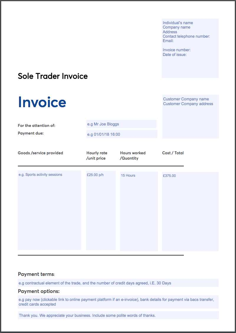 Free Invoice Template Sole Trader