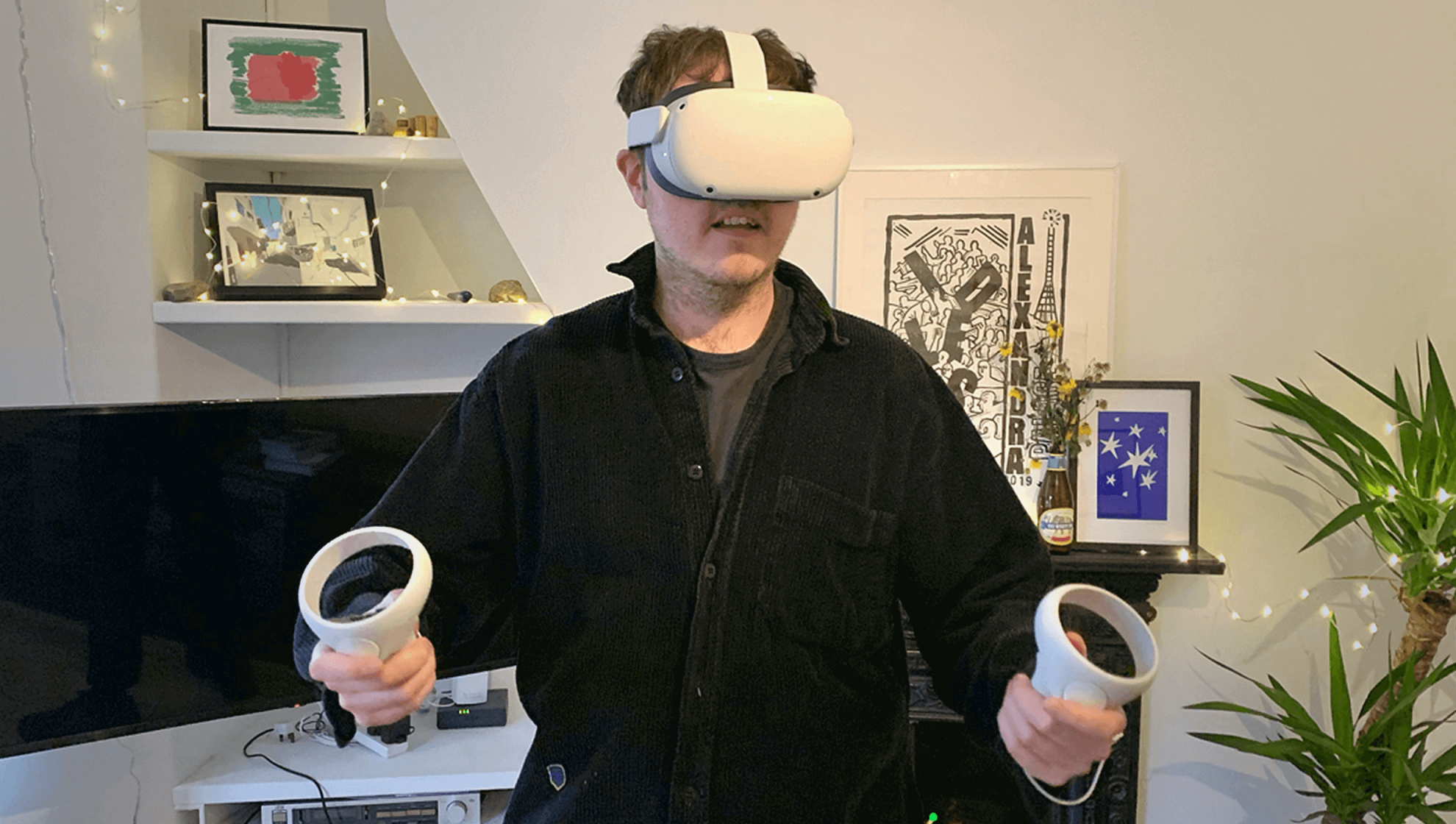 GoCardless sales team member using virtual reality headset