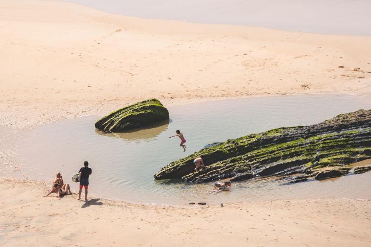 beach kids playing