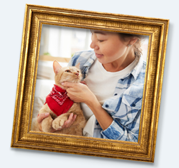 Woman with dog in a picture frame