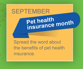 September is Pet health insurance month. Spread the word about the benefits of pet health insurance.