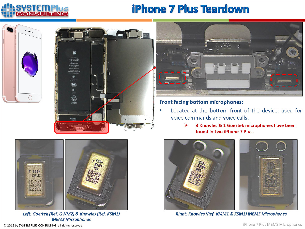 iPhone7 MEMS microphones System Plus Consulting (cr)