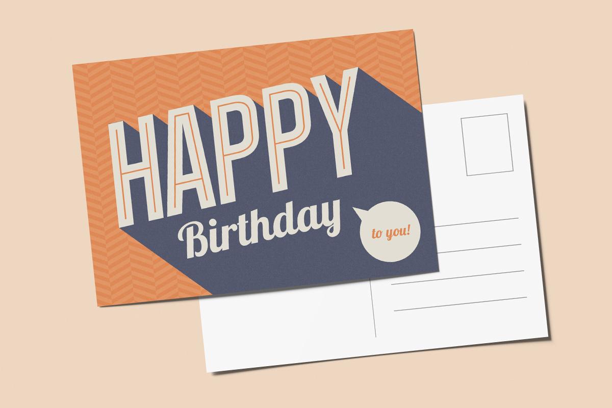 Template verjaardagskaart retro
