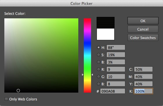 De kleur code zwart in Photoshop en Illustrator