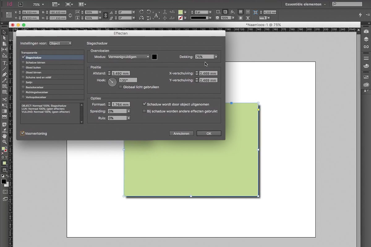 dropshadow indesign