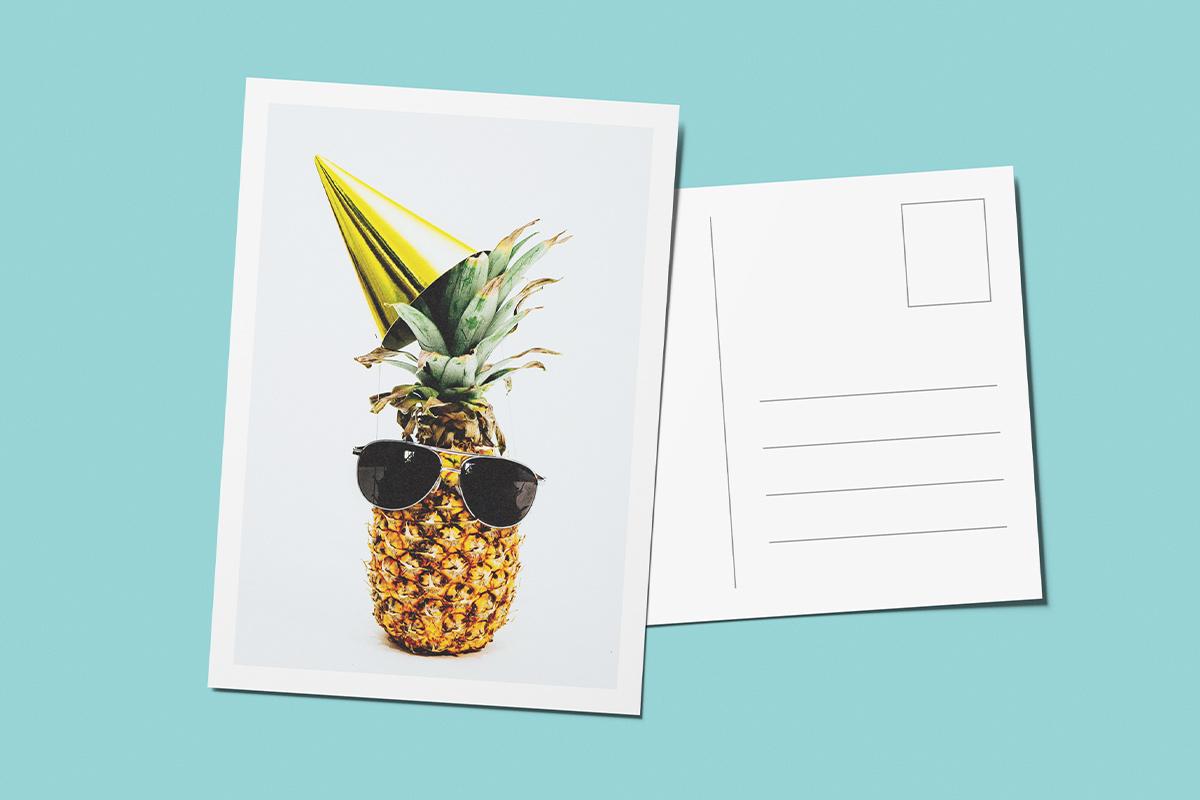 Template verjaardagskaart ananas