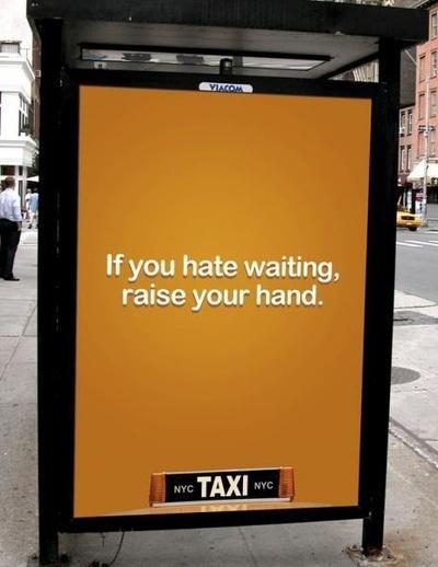 Creatieve buitenreclame van NYC Taxi