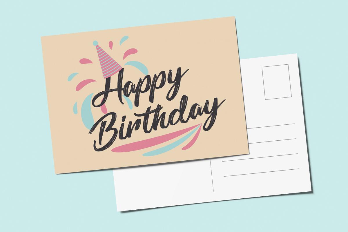 Template verjaardagkaart feestmuts