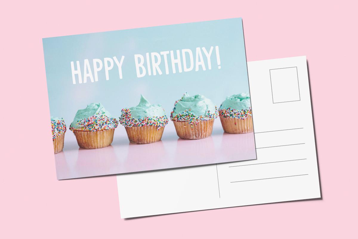 Template verjaardagskaart cupcake
