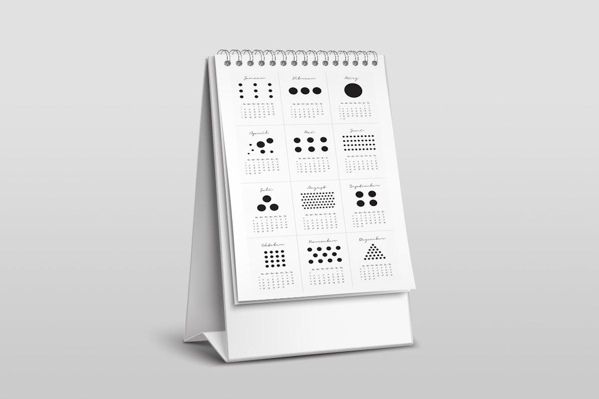 Bureau-kalender stippen