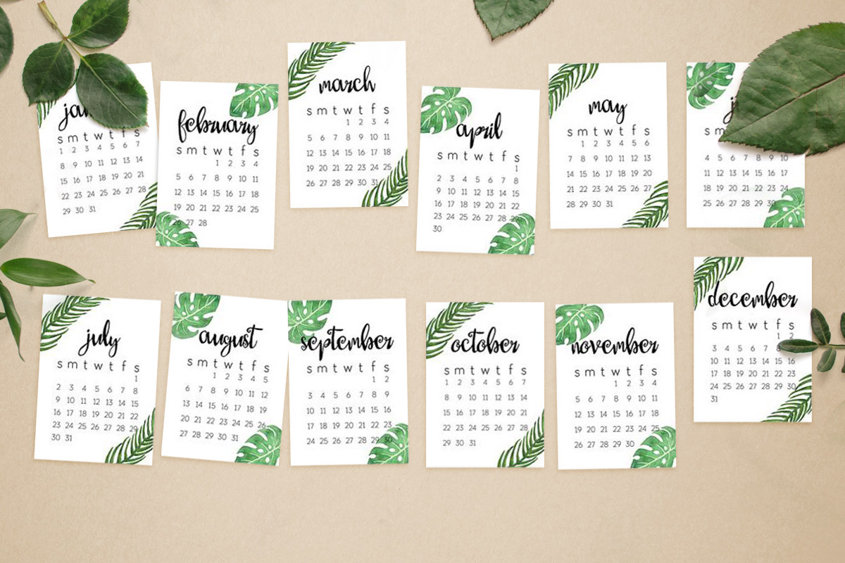 Bureau-kalender planten