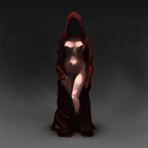 Haunting: A woman in a long red gown is walking towards the viewer. Under the coat she wears nothing, so you can see her bare body. The atmosphere is dark and haunting.