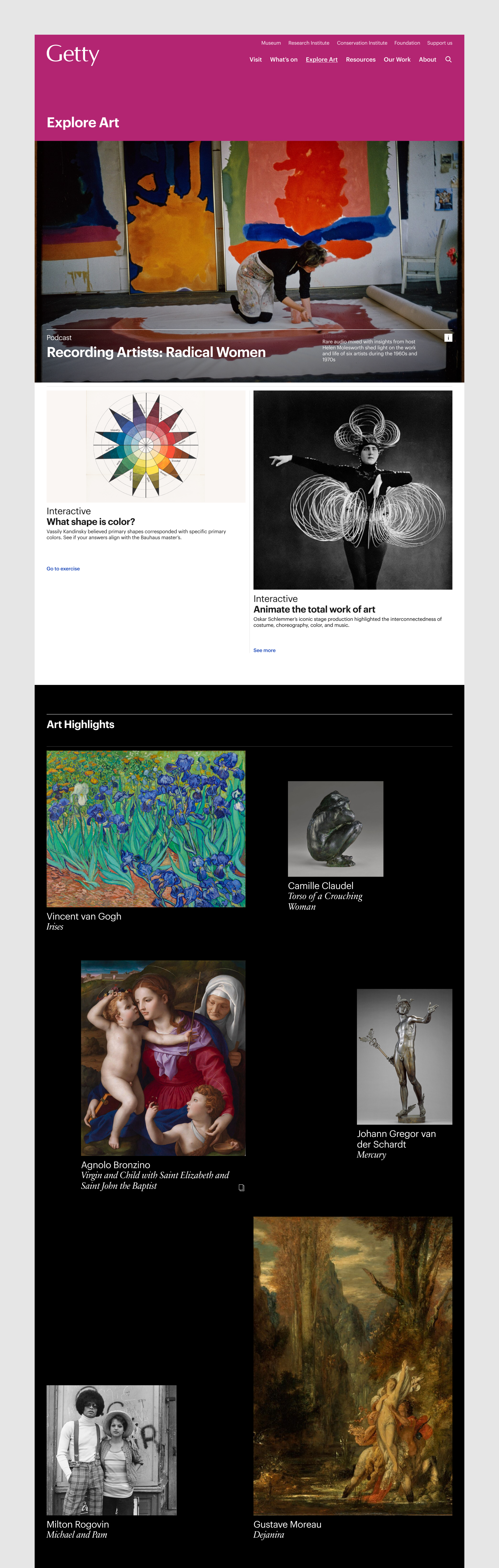 Getty explore art landing page