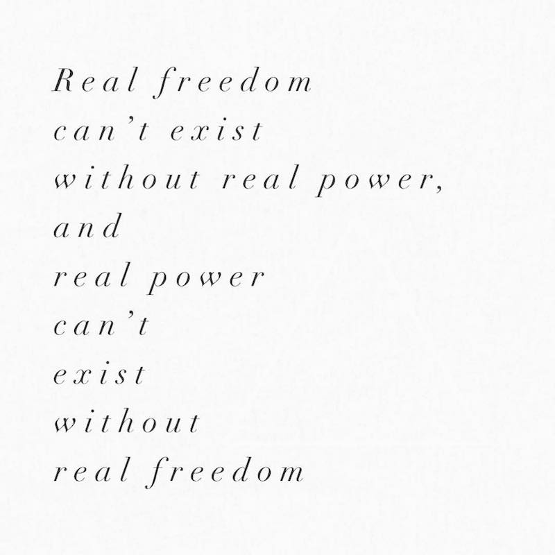 real freedom real power black and white font