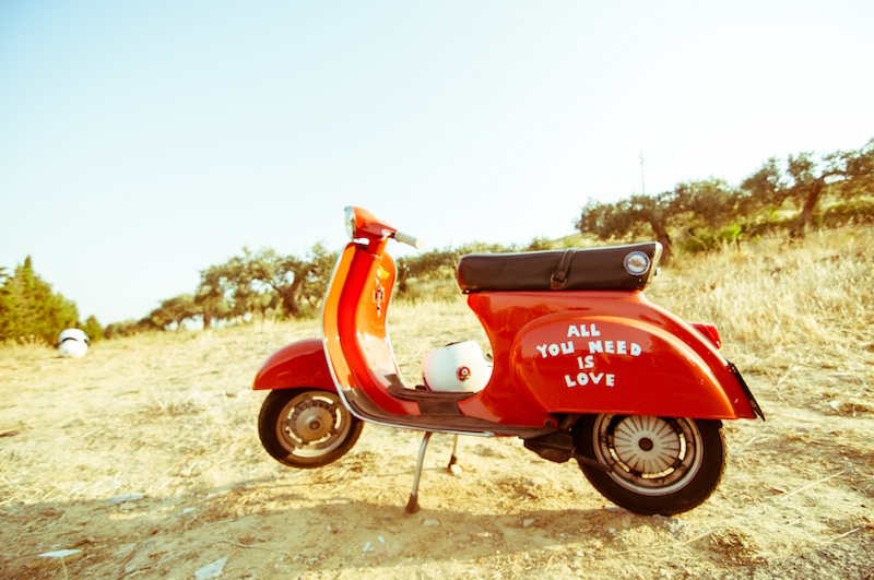 red motorscooter all you need is love davide ragusa